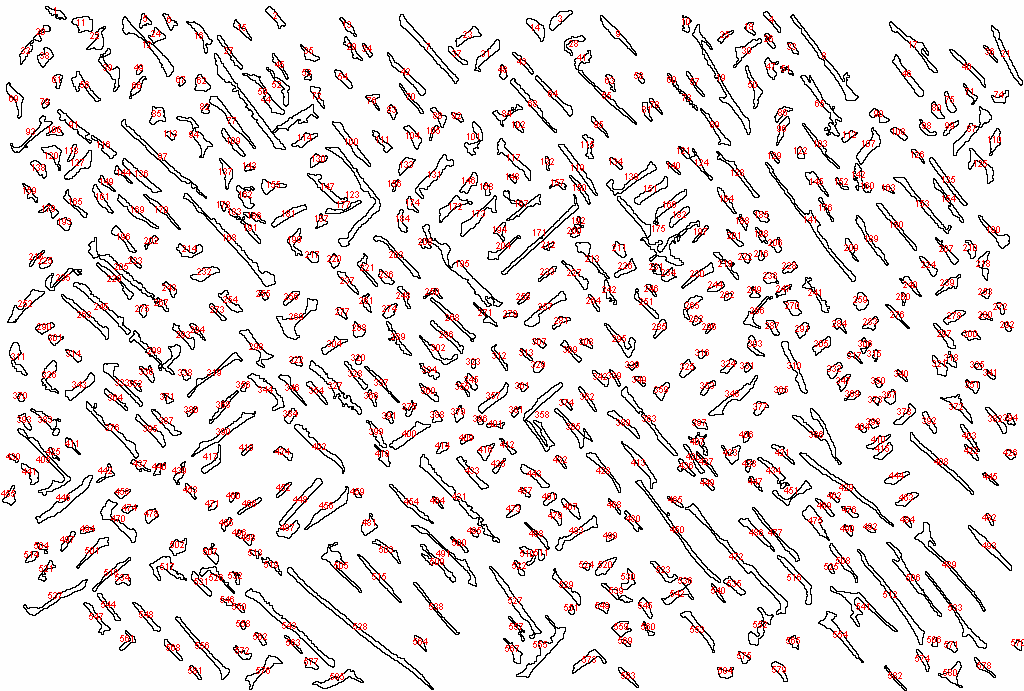 Micrograph with outlined and numbered particles (example)
