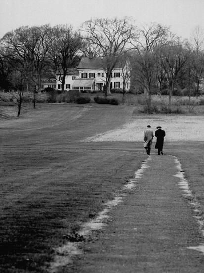 Distant of Mathematicians - Albert Einstein and Kurt Godel Taking a Walk